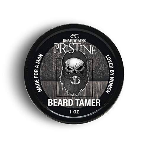 Beard Gains Pristine Scented Color Tinted Beard Tamer Wax for Men, Shape, Style & Groom Facial Hairs with Organic Balm Leave In Conditioner, Control Wild Whisker Hairs - Choose Your Hair Color (Black)