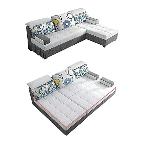 Tolalo Sofá de esquina convertible Sofá cama - Sofá de lujo con forma de sofá L de 3 plazas con cama de extracción y espacio de almacenamiento grande: moderno comodidad extra sofá cama para sala de es