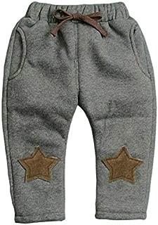 Kids Clothing Winter Boys Thick Warm Velvet Pentagram Pattern Trousers, Size:120cm(Brown) Boys Clothing (Color : Gray)