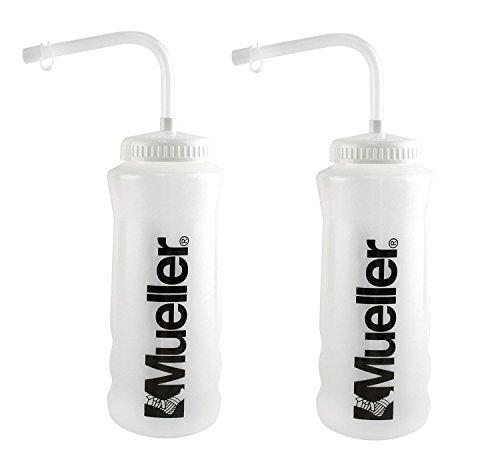 Mueller Quart Bottle w/Straw (New Design), Natural Color w/ Black Letters (2-Pack)