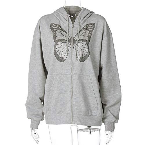 ACARYI Frauen Maxi-Schmetterlings-Grafik-Hoodie Herbst Y2K Mode Strass Zip Up Hoodies E-Mädchen 90s Street Diamant-graue Lange Jacke (S)