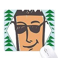 サングラスの抽象的な顔スケッチ絵文字 オフィスグリーン松のゴムマウスパッド
