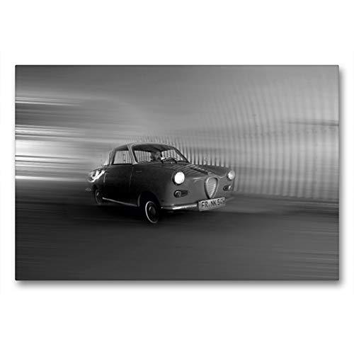Premium Textil-Leinwand 90 x 60 cm Quer-Format Goggomobil Coupè 250 TS in schwarzweiss | Wandbild, HD-Bild auf Keilrahmen, Fertigbild auf hochwertigem Vlies, Leinwanddruck von Ingo Laue