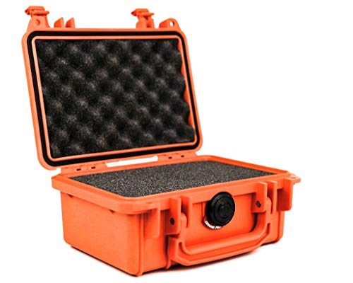 PELI 1120 Maleta rígida profesional para cámara, instrumentos electrónicos y ópticos, IP67 estanca e impermeable al polvo, 2L de capacidad, fabricada en EE.UU, con espuma personalizable, color naranja
