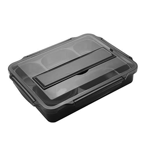 Multifunctionele roestvrijstalen lunchbox, 2500 ml, grote capaciteit 5 roosters, brooddoos, zwart rechthoekig Vesperbox proviantdoos 31 x 24,5 x 6 cm