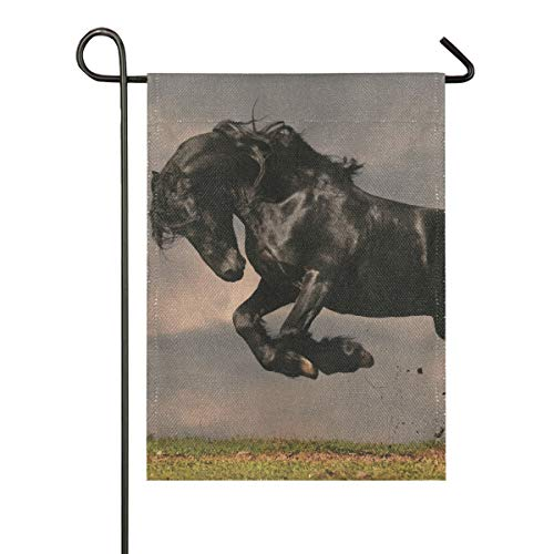 XiangHeFu Doppelseitiges Geschenk im Freien 12x18 Zoll-Frühlings-Yard-Garten-Flaggen-schwarzes friesisches Hengst-Pferd in der Sonnenuntergang-Fahne