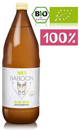 Wild Baboon Premium Aloe Vera Saft Bio 100 Prozent Direktsaft, 1200mg Aloverose, Trinkgel, DE-ÖKO-006