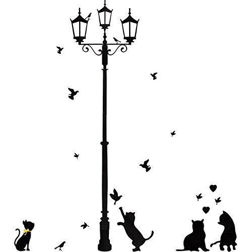 Newin Star Mur Autocollant Lampe Chat Oiseau Amovible Salon Salle de Travail Maison Lieu de Travail Noir Lampadaire