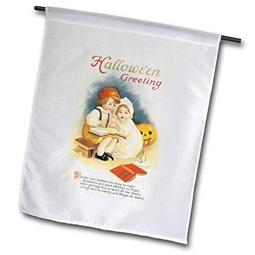 3dRose FL_126096_1 Vintage-Halloween-Gruß, Zwei kleine Kinder, Gruselbuch, Gartenflagge, 30,5 x 45,7 cm