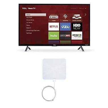TCL 32S305 32-Inch 720p Roku Smart LED TV (2017 Model) with Winegard FlatWave FL-5000 Digital Indoor HDTV Antenna