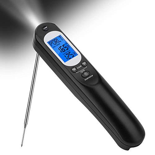 TURATA Taschenlampe Küchenthermometer Digital Wiederaufladbar Fleischthermometer Blitzschnell Instant Read Grillthermometer Bratenthermometer für BBQ Grill Ofen