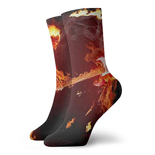 U Shape Calcetines deportivos unisex Flame Skull Novelty con tubo