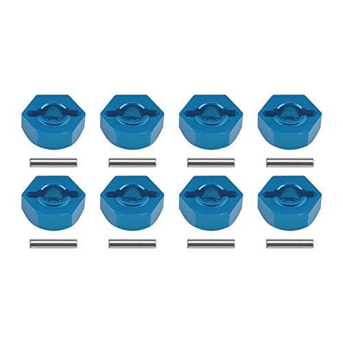 8 adaptadores hexagonales de aleación de aluminio para rueda de coche, color azul, 12 mm, tuercas hexagonales con pasadores ajuste universal para 1/10 RC modelo de repuesto de coche
