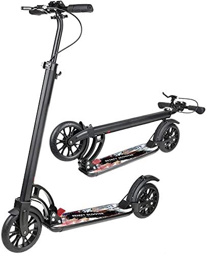 besrey Scooter Erwachsene Kickscooter Tretroller Big Wheel Scooter 200mm ab 8 Jahre für Jugendliche und Erwachsene mit XXL Trittbrett und Fußbremse, Handbremse, Schwarz