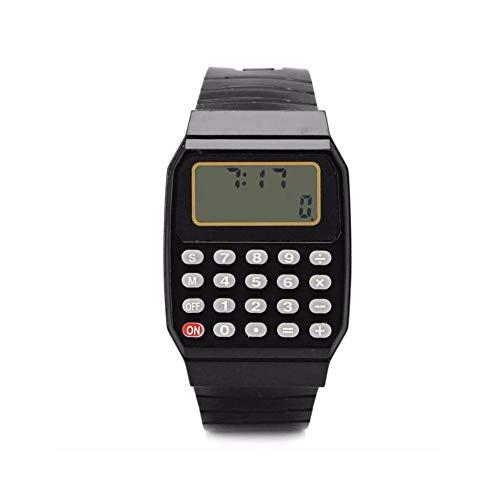 Multifunction Calculator Wrist Watch Men Women Silicone Date/Time Display Digital Watches (Black)