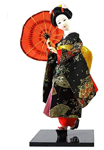 Japanese Geisha Kimono Doll - 12 Inches (30cm) Asian Geisha Collectible Figurine Decoration or Gift