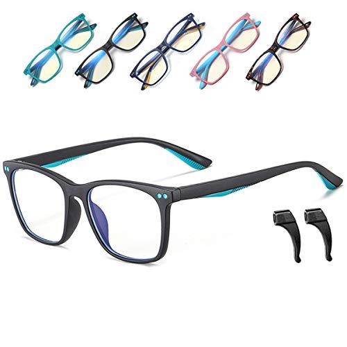 Musivon Kinder Brille Ohne Stärke-Anti Blaulichtfilter Brille Kinder Blaufilter Spiel Computer Brillen für Mädchen Junge mit Gläsern 4-14 Jahre(Schwarz)