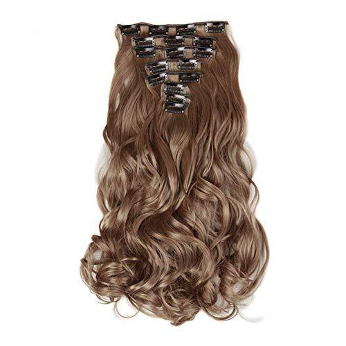 """22"""" Ombre Brown Demi-Perruques 8Pcs / Set Long Ondulé pour Les Femmes Haute Gris Température Synthétique Cheveux Frisés Naturelles Postiches Clip dans"""