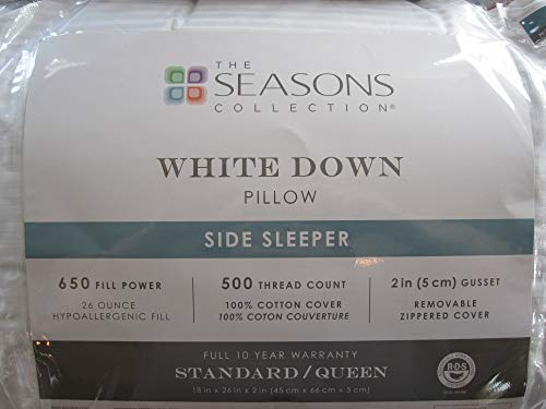 Seasons Collection The White Down Standard/Queen Side Sleeper Pillow (Standard/Queen)