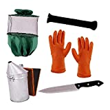 Beekeeping Equipment (Combo of 5),Bee Veil(Green)-1,Gloves(Rubber)-1,Hive Tool (Iron J Type),Uncapping Knife-1,Smoker(GI)-1