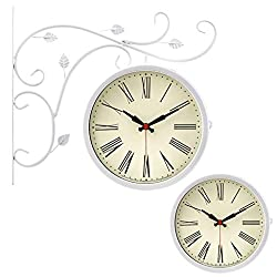 DWE-Watch Shop Double-Sided Wall Clock Outdoor On Bracket Wrought Iron Train Station Round Clock with Rolling Wall Side Decoration Home Decor Wall Clock (Color : C)