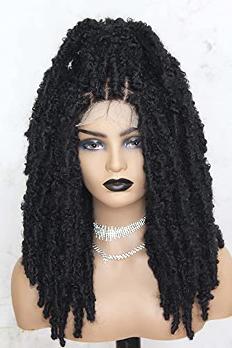BENEFLY Braided Wig Butterfly Distressed Locs Wig Human Hair Swiss Lace Base With Faux Locs Lace Front Wig With Bleached Knots and Baby Hair (1B of Black)