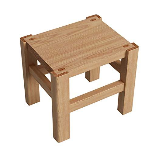 Tabourets Tabouret en chêne blanc Banc en bois massif Petit tabouret carré pour enfant Repose-pieds en bois (Color : Wood color, Size : 27x22x24cm)