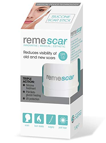 Remescar - Silicone Scar Stick for Face and Body - Treatment for New & Old Facial Scarring - UV Protection - Silicone Gel Treatment for Scar Reduction - Convenient Stick Applicator - Clinically Proven