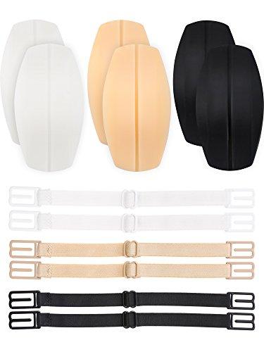 Hestya 3 Paar Bra Gurt Kissen Halter Silikon Schulter Protektoren Pads mit 6 Stück Anti Rutsch Elastik BH Gurt Klammer Halter, Weiß, Beige und Schwarz