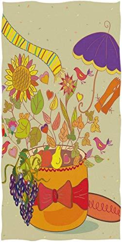 Canasta de Flores de Girasol, Hojas, pájaros, UVA, Toallas de Mano, Colorida, Toalla de baño, Ultra Suave, Muy Absorbente, pequeña Toalla de baño para la decoración de la Mano, la Cara,70×140cm