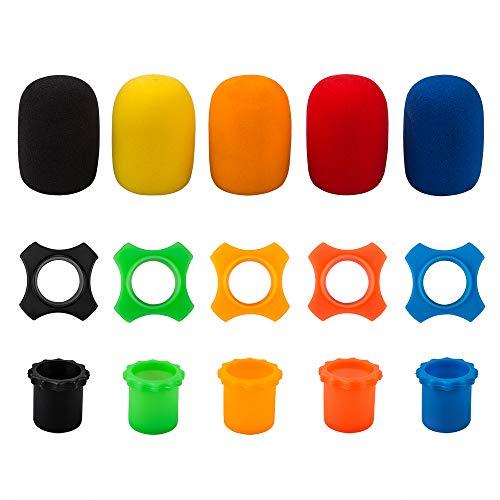Sourceton - Anillo de silicona para micrófono de mano inalámbrico (5 unidades, 5 unidades, resistente a la rotura, incluye funda para la parte inferior de la varilla (5 unidades), varios color