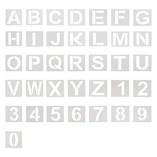 Pochoir Chiffre Pochoirs de Lettre et de Numéro 74 mm, Pochoirs de Lettre de L'alphabet en Plastique Réutilisables pour des Projets de Bricolage