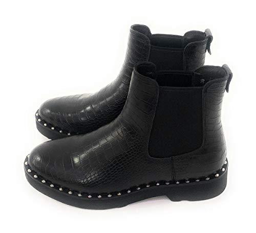 Cult Croco leren laarzen zwart met metalen applicaties Elastisch aan de zijkanten.