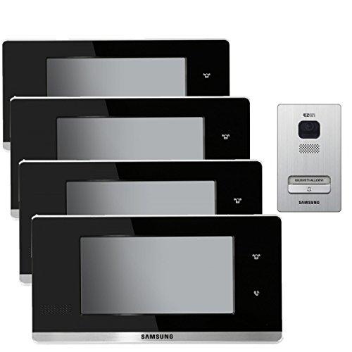 Haussprechanlage SAMSUNG für 1-Familienhaus mit vier 7 Zoll TFT-LCD und Aufputz Türstation