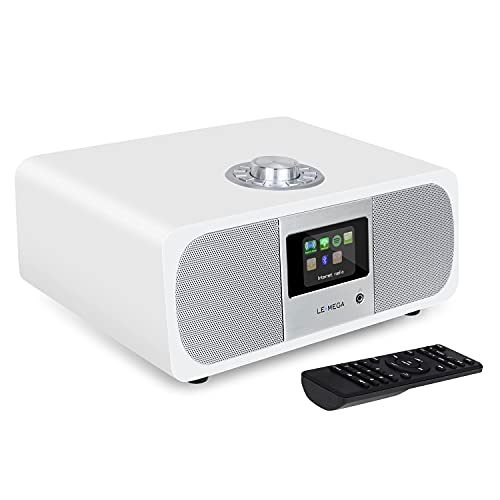 LEMEGA M3P WiFi Stereo Internetradio,DAB/DAB+ und FM Digitalradio,Bluetooth,Spotify Connect,Kopfhörer-Ausgang,AUX-Eingang,60 Voreinstellungen,Dual Wecker,Fernbedienung und App-Steuerung - Weiß