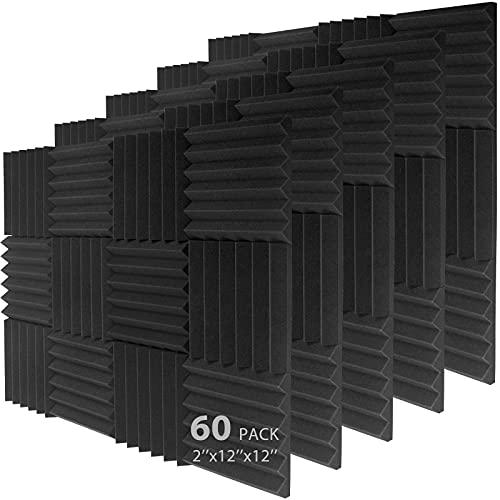 "60 Pack Acoustic Foam, Sound Panels 2"" X 12"" X 12"", 2021 Upgrade Fast Rebound High Density Panels, sound proof foam panels"