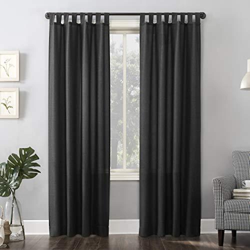 "No. 918 Trevor Heathered Texture Semi-Sheer Tab Top Curtain Panel, 40"" x 84"", Coal Gray"