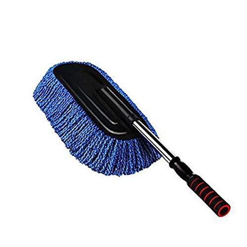 ASEOK Autowaschbürste, Mikrofaser Anti-Statik-Auto-Reinigungswachs-Staubwedel-Entferner, Auto-Staubtuch-Entferner Abnehmbarer Teleskopgriff Autowachs-Drag-Mikrofaser-Autobürste zum