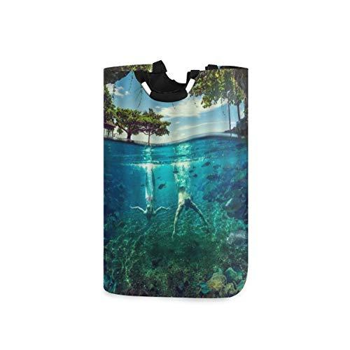 YUDILINSA Cesto de Lavandería,Hawái Océano Paisaje Playa exótica Bosque tropical Naturaleza Fondo marino Vacaciones Buceo,Plegable Cesto de Sucia Ropa Bolsas Almacenaje 52L con Asa para Dormitorio