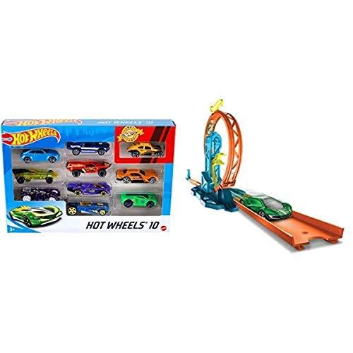 Hot Wheels Pack de 10 vehículos, Coches de Juguete + Track Builder Accesorios para Pistas de Coches Acelerador de Loop