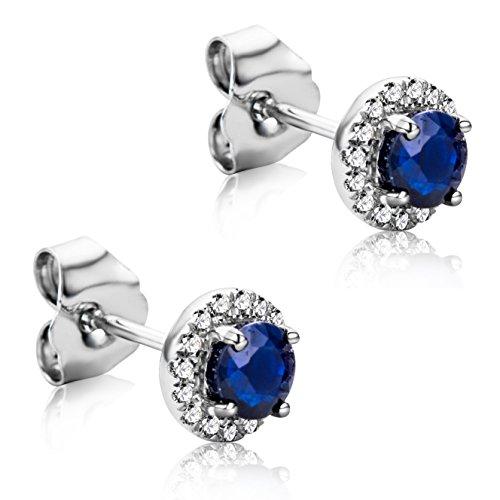 Orovi Pendientes Señora presión en Oro Blanco con Diamantes Talla Brillante 0.09 ct y Zafiro azul 0.58 Ct Oro 9 Kt / 375