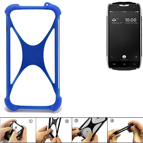K-S-Trade Handyhülle Für Doogee T5 Silikon Schutz Hülle Cover Hülle Bumper Silikoncase TPU Softcase Schutzhülle Smartphone Stoßschutz, Blau (1x)