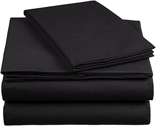 AmazonBasics 'Everyday' Bettwäscheset aus 100% Baumwolle, Anthrazit 135x200 cm & 1 Kissenbezug 80x80 cm
