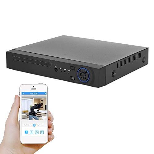 Tosuny Grabador de Sistema de cámara de Seguridad NVR de 5 canales/1080P HD de 16 Canales, Grabador de Video de Disco Duro H.265 NVR Net para ONVIF(Negro)