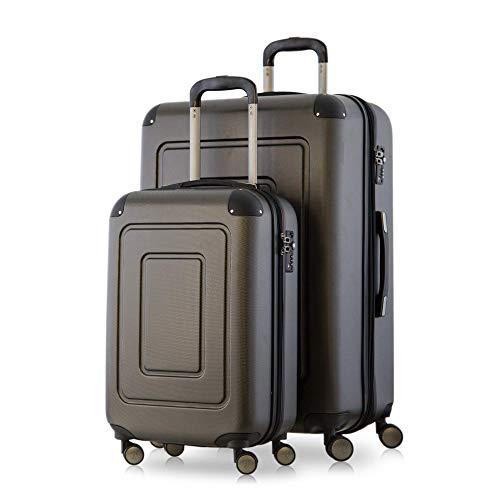 Happy Trolley - 2er Koffer-Set Trolley-Set Rollkoffer Hartschalen-Koffer Reisekoffer Lugano sehr leicht, TSA, (S+XL), Graphit