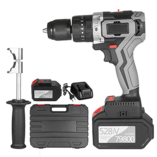 Cordless Drill Driver 21V 6.0A Battery Max Torque 200N.m 1 2 Inch Metal Keyless Chuck 20+3 Position 0-1550RMP Variable Speed Impact Hammer Drill Screwdriver With Plastic Tool Box