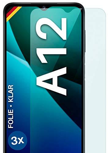 moex [3 Stück] Schutzfolie kompatibel mit Samsung Galaxy A12 Bildschirmfolie Hüllen-Fre&lich, 0.2 mm dünne Bildschirmschutzfolie, Display Schutz extra Kratzfest - HD Ultra-Klar