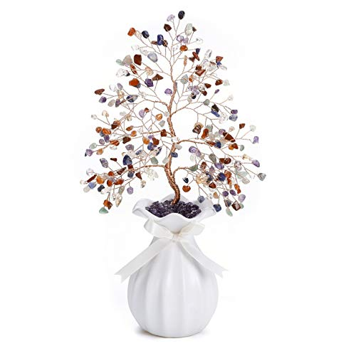 CrystalTears 7 Chakra Healing Crystal Money Tree Feng Shui Crystal Bonsai Tree Sculpture Natural Tumbled Gemstone Tree Ornament with White Ceramic Vase for Home Decoration Wealth Healing Gift