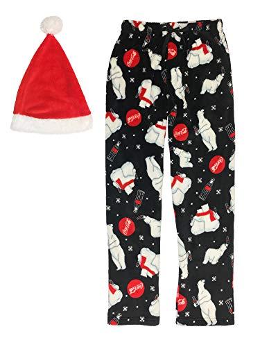 Coca-Cola Herren Schlafhose und Mütze Weihnachtsmann-Bär, Plüsch, Geschenkset - Schwarz - Medium