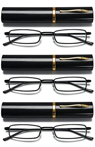 VEVESMUNDO Metall Lesebrille Mini Kompakt Leicht Federscharnier Schmal Klassische Lesehilfe Brille mit Metall Etui (3 Stück schwarz Lesebrillen, 2.5)